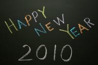 Happy New Year 2010 -  written on blackboard