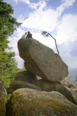Romantic couple on bizarre rocks  in Lower Austria