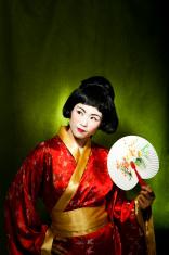 Geisha with a fan