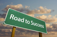 Road to Success Green Street Sign