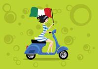 Vespa Piaggio Scooter wirh Italian Girl