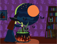 Witch Stirring Cauldron on Halloween
