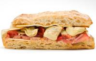 Artichoke hearts and smoked gouda ciabatta sandwich