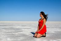Red Dress on the Salt Flats