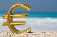 Golden Euro Symbol Mediterranean Beach