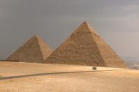 Egyptian Pyramids under Stormy grey sky