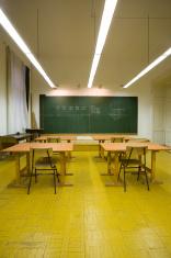 empty classroom, vertical image