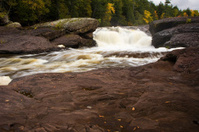 Michigan Upper Peninsula Waterfall In Autumn