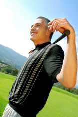 Mature golfer relaxed