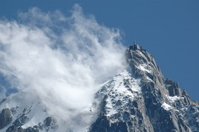Aiguille Du Midi in cloud with cable car