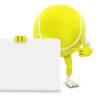 tennis ball man pointing on whiteboard