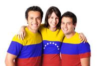Friends making a Venezuelan flag