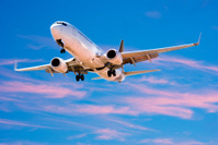 Jet Aeroplane Landing From Bright Twilight Blue Pink Sky