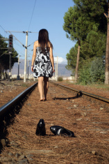 alone girl on the railroad