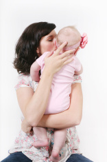 Tender moment between mother and child