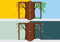 Four Seasons Behind Door