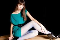 sexy Kazakh beauty: Mini Green Dress