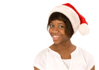 Cheerful Black Teen in Santa Hat