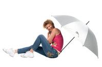 woman with big grey umbrella