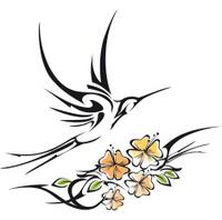 tribal hummingbird and hibiscus tattoo