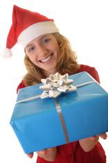 Santa girl with present, christmas theme