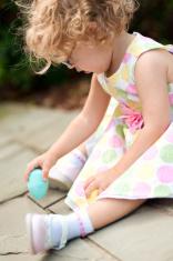 Little Girl Drawing With Easter Egg Sidewalk Chalk