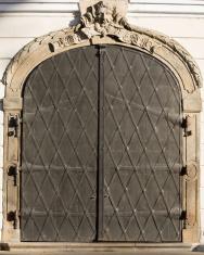 Metal door decoration