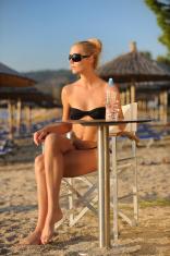 Woman in a beach bar