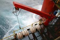 oil rig platform emergency escape liferaft and launcher