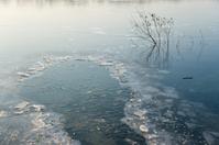 Frozen lake in wintertime