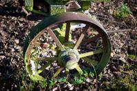 Rusted iron wagon wheel