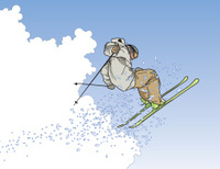 Extreme Skier in the Clouds