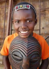 African boy tribal mask