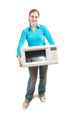 woman with mini oven