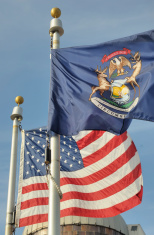 Michigan and American Flag