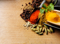 Mixed Spices on a Chopping Board