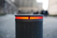 Red illuminated road block