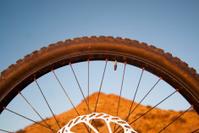 mountain bike wheel landscape desert sunset