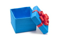 Open blue gift box