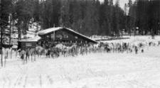 Badger Pass ski lodge, Yosemite 1950, retro