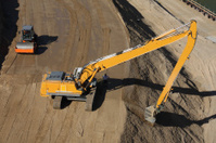 Hydraulic excavator and roller compactor