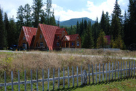 red house in the forest of xinjiang china