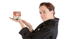 woman exposing house