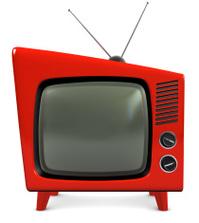 Retro red plastic TV