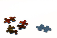 Few pieces of a jigsaw puzzle