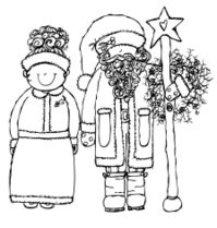Mrs. and Santa Claus holding staff with star also wreath