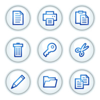 Document web icons set 1,  circle buttons series