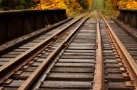 Train tracks over raised tressel