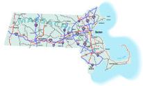Massachusetts State Interstate Map
