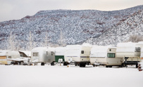 Row of Trailers in Snow